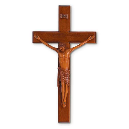 Mahogany 12in Beveled Wall Crucifix