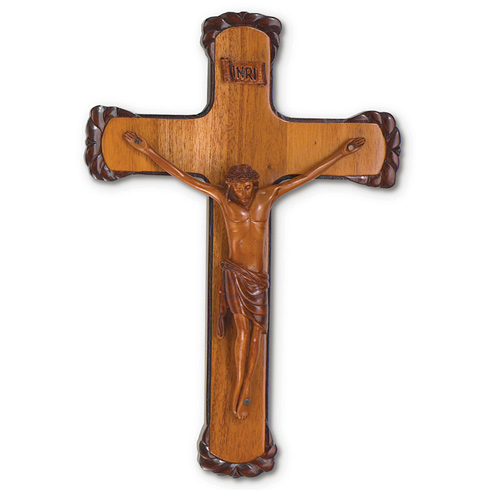 12in Mahogany Wall Crucifix with Hand Carved Edges