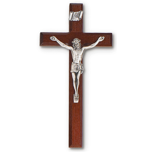 8in Cherry Stained Wood Wall Crucifix