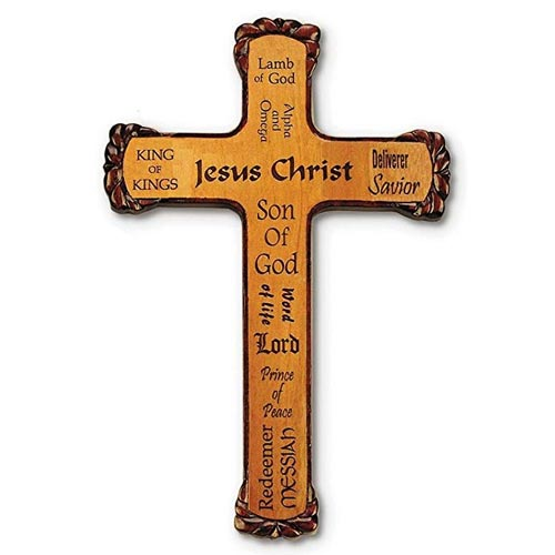 10in Rustic Name of Jesus Mahogany Wood Wall Cross