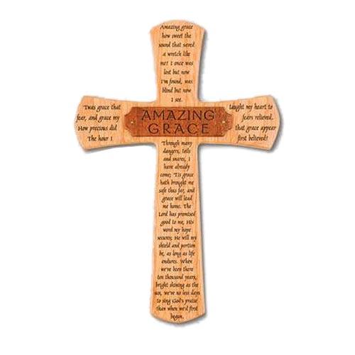 10in Amazing Grace Mahogany Wood Wall Cross