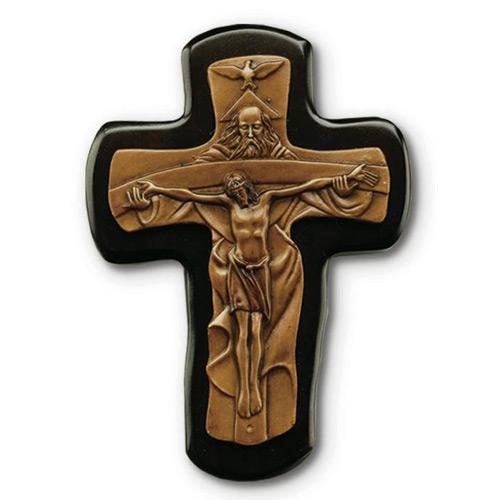 6in Black Stained Mahogany Trinity Wall Crucifix
