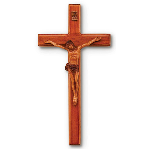 Mahogany 6in Beveled Solid Wall Crucifix