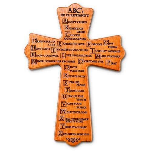 12in ABC's of Christianity Mahogany Wood Wall Cross