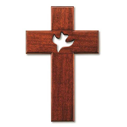 10in Mahogany Wood Wall Cross with Cut-Out Dove