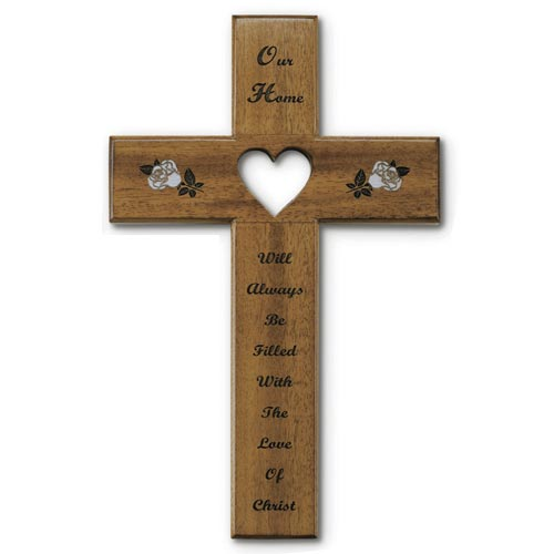 12in Heart Our Home Mahogany Wood Wall Cross