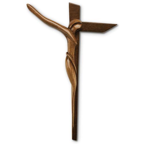 12in Modern Mahogany Wall Crucifix