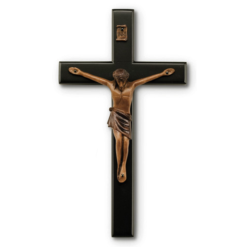 8in Black Stained Mahogany Wall Crucifix