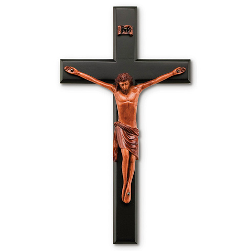 12in Black Stained Mahogany Wall Crucifix