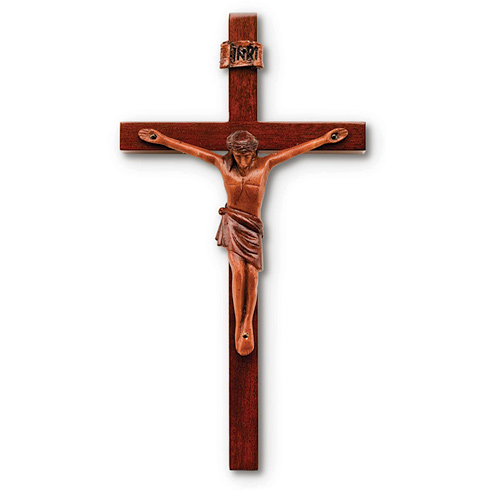 8in Block Style Solid Mahogany Wall Crucifix