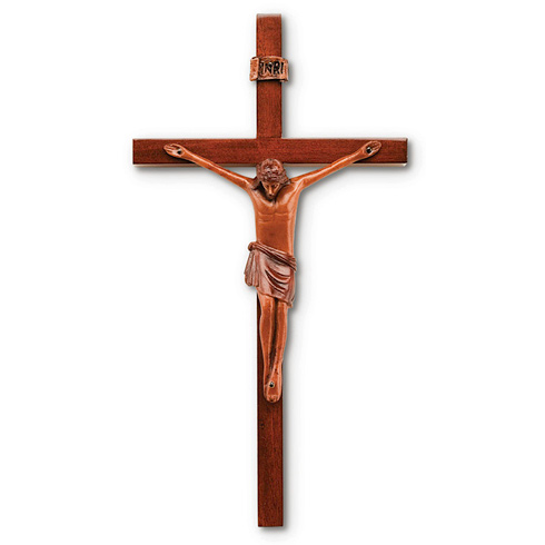 10in Block Style Solid Mahogany Wall Crucifix