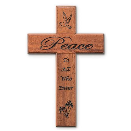12in Peace Mahogany Wood Wall Cross