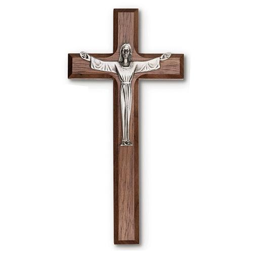 Walnut Wood 8in Risen Christ Wall Cross