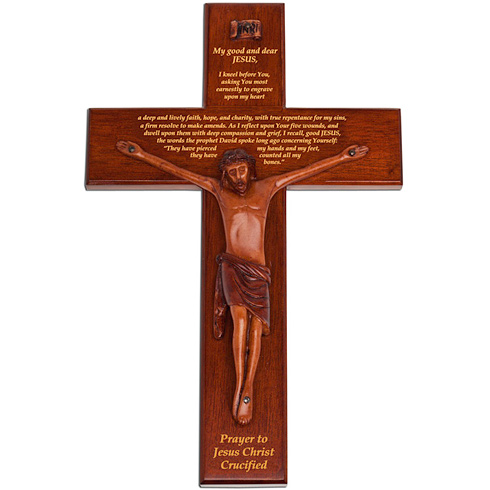 12in Mahogany Wall Crucifix with Prayer to Jesus