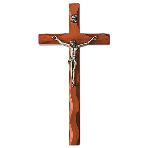 Carved Walnut Wood 10in Wavy Wall Crucifix