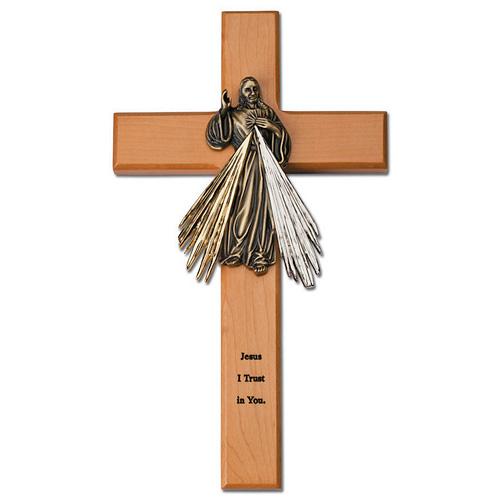 10in Oak Wood Divine Mercy Wall Cross