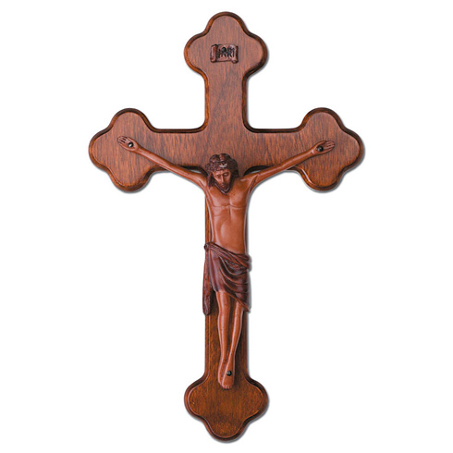 12in Budded Mahogany Wall Crucifix