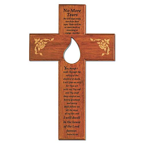 10in No More Tears Memorial Wood Wall Cross