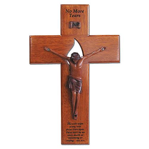 10in Mahogany Memorial Wall Crucifix