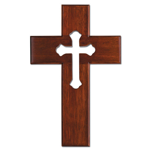 Mahogany Wood 10in Wall Cross with Cut-Out Cross