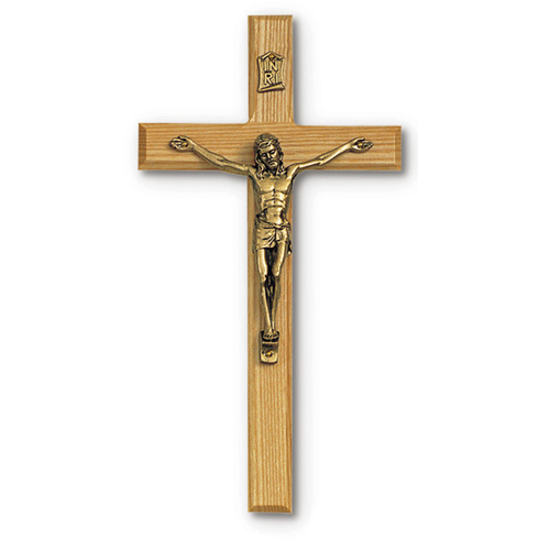8in Beveled Oak Wall Crucifix with Gold Corpus