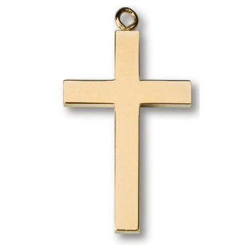 Gold Plated 1in Latin Cross on 24in Necklace