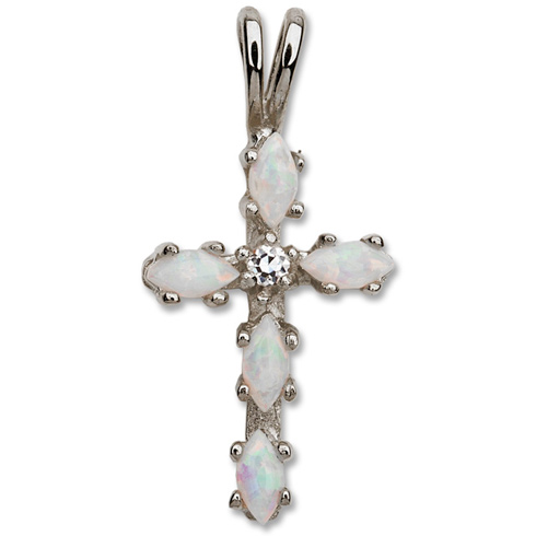 Sterling Silver 5/8in Opal and CZ Cross 18in Necklace