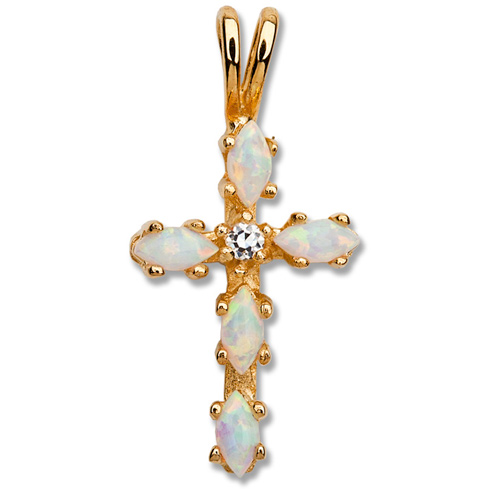 18kt Yellow Gold Plated 5/8in Opal and CZ Cross 18in Necklace