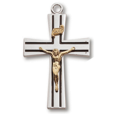 Sterling Silver 1 1/8in Striped Crucifix 24in Necklace