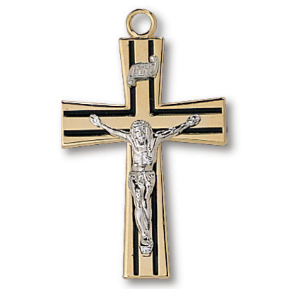 18kt Gold Plated 1 1/8in Striped Crucifix 24in Necklace