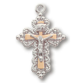Sterling Silver 3/4in Beaded Crucifix 18 inch Necklace