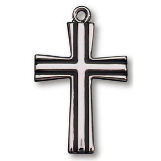 Sterling Silver 7/8in Striped Cross on 18in Necklace