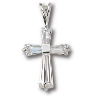 Sterling Silver 11/16in Baguette CZ Cross 18in Necklace