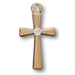 Gold Filled 5/8in Crusader CZ Cross 18in Necklace