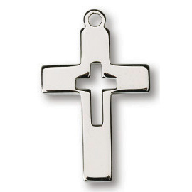Sterling Silver 3/4in Latin Cut-Out Cross on 18in Necklace