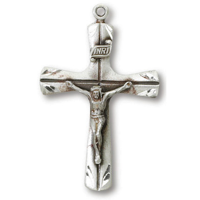 Sterling Silver 1 1/8in Scalloped Crucifix 24in Necklace