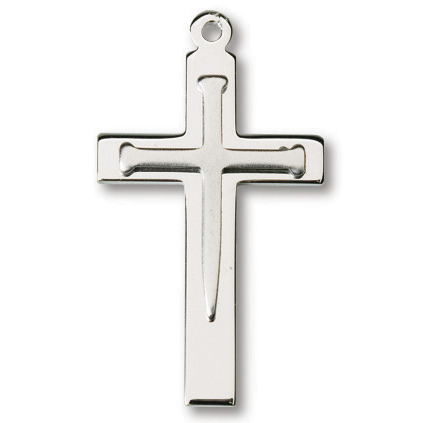 Sterling Silver 1 1/8in Nail Cross on 24in Necklace