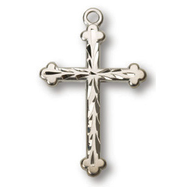 Sterling Silver 3/4in Scalloped Budded Cross 18in Necklace