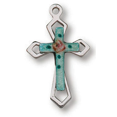 Sterling Silver 9/16in Passion Stone Cross 18in Necklace