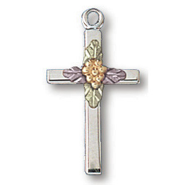 Sterling Silver 11/16in Painted Leaves Cross 18in Necklace
