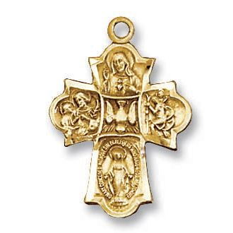 18kt Gold Plated 7/8in Four Way Cross 18in Necklace