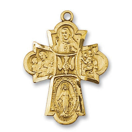 18kt Gold Plated 1 3/16in Four Way Cross 24in Necklace