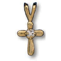 14kt Yellow Gold Filled 3/8in Freeform Crystal Cross 16in Necklace