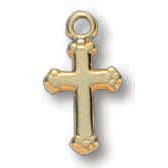 18kt Yellow Gold Plated 3/8in Budded Cross 16in Necklace