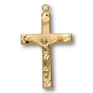 18kt Gold Plated 13/16in Scalloped Crucifix 18in Necklace