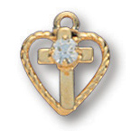 14kt Yellow Gold Filled 5/16in Heart CZ Cross 16in Necklace