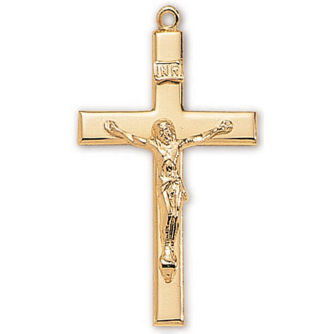 18kt Gold Plated 1 3/8in Latin Crucifix 24in Necklace
