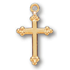Gold Filled 9/16in Budded Cross 18in Necklace
