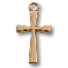 Gold Filled 5/8in Crusader Cross 18in Necklace