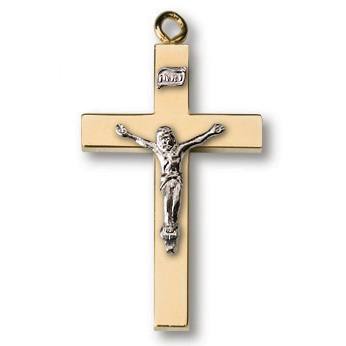 18kt Gold Plated 1in Modern Crucifix 24in Necklace
